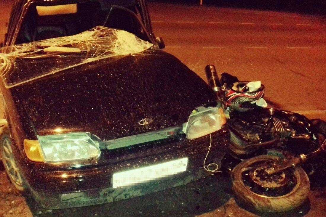 Появились фотографии с места жесткого ДТП с мотоциклом в Пензенской области